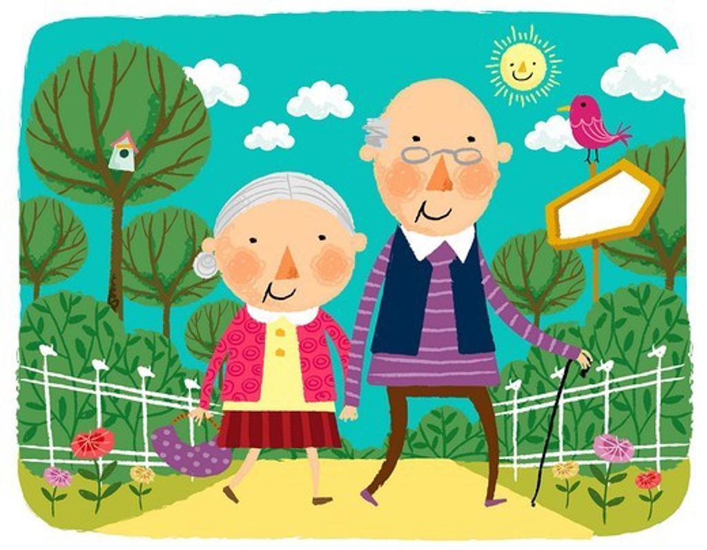 Elderly couple going for walk : Stock Photo