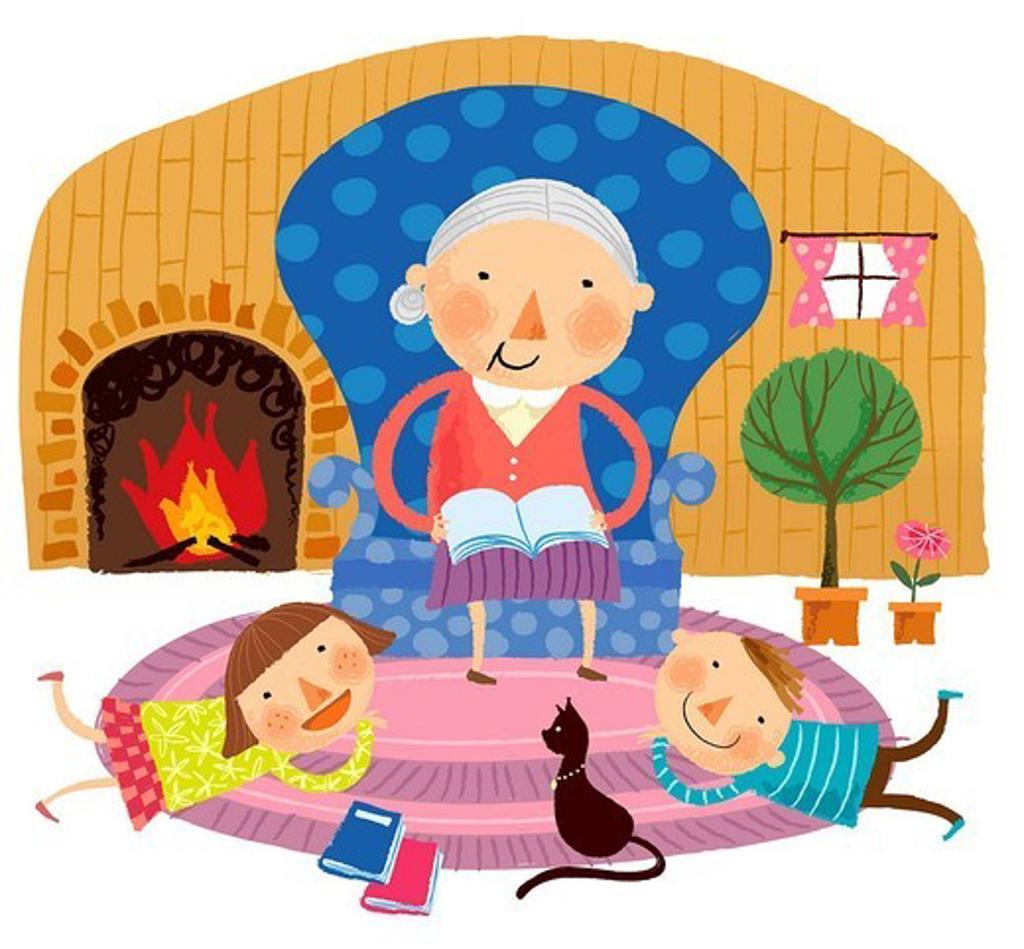 Grandmother saying story to grandchildren : Stock Photo