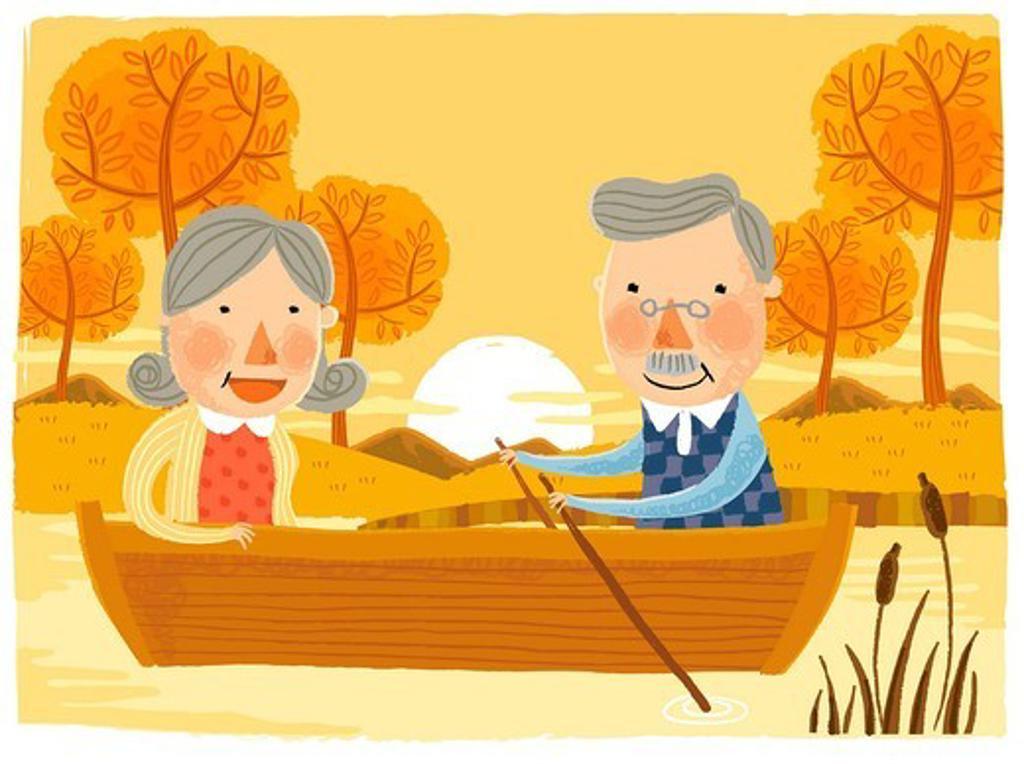 Stock Photo: 4170R-7264 Elderly couple sailing Boat