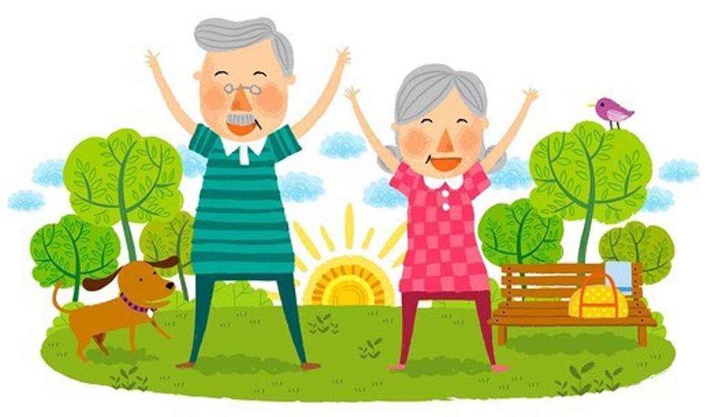 Stock Photo: 4170R-7277 Elderly couple doing laughing exercise