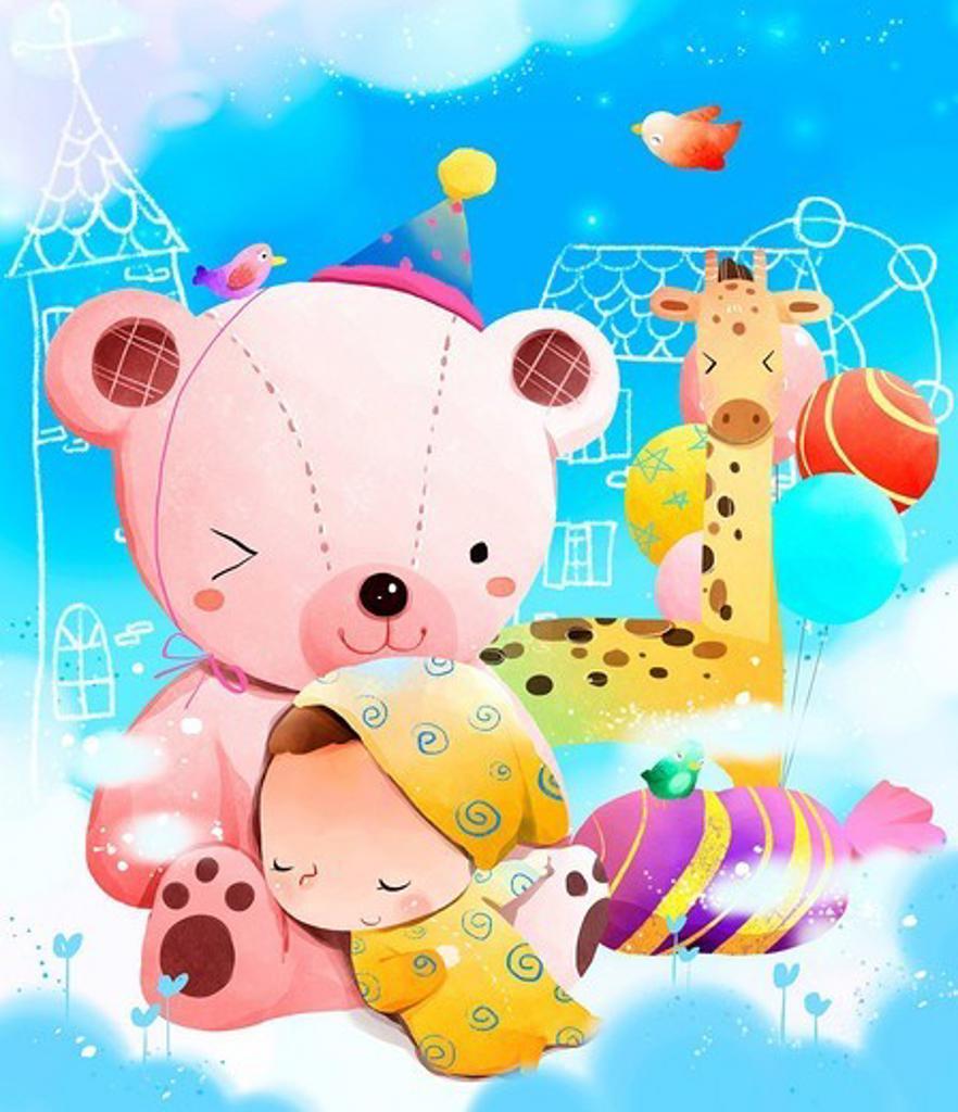 Stock Photo: 4170R-7340 Child sleeping on teddy bear