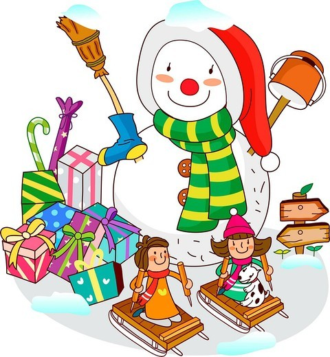 Two girls sitting on sleds with a snowman near Christmas presents : Stock Photo