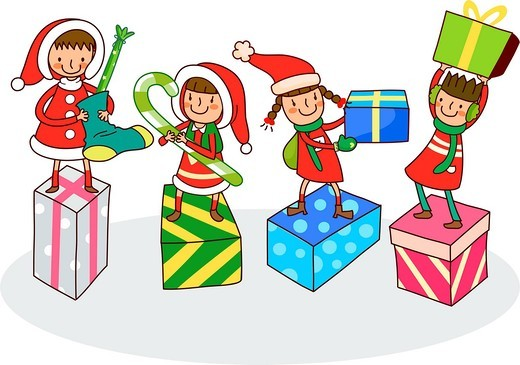 Stock Photo: 4170R-7379 Four girls with Christmas presents