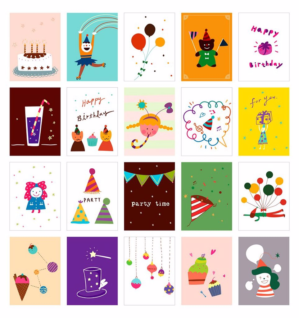Stock Photo: 4170R-8042 Various party cards