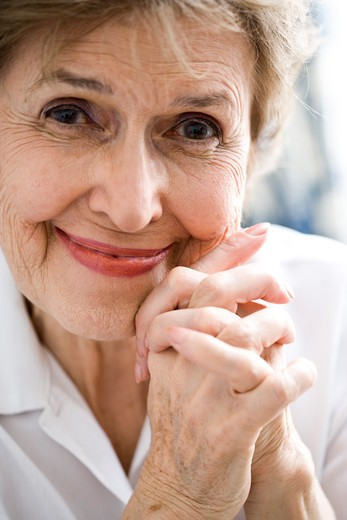 Close up of happy elderly woman : Stock Photo