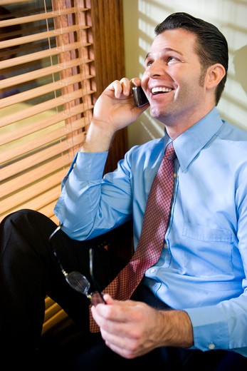 Happy businessman talking on mobile phone : Stock Photo