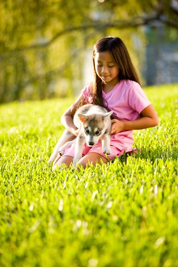 Young Asian girl holding puppy sitting on grass : Stock Photo