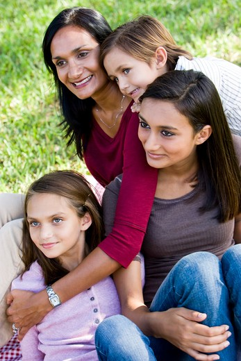 Stock Photo: 4172R-1829 Family portrait, mother with three children