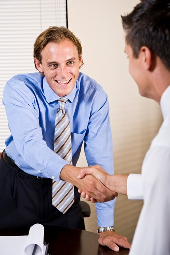 Two businessmen in office shaking hands : Stock Photo