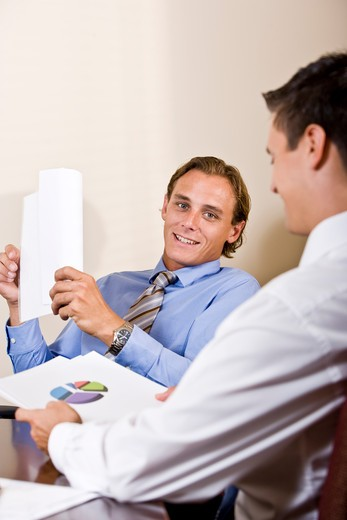 Stock Photo: 4172R-2684 Businessmen discussing financial results