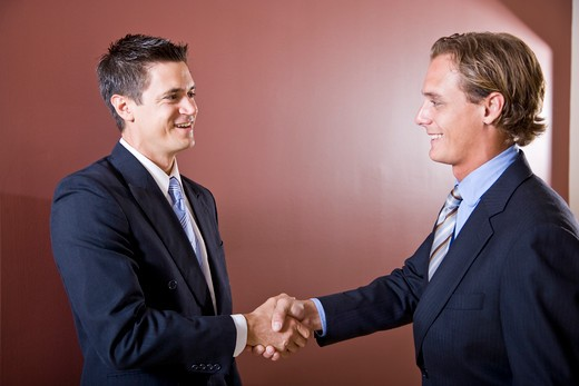 Businessmen wearing suits shaking hands : Stock Photo