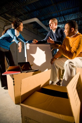 Stock Photo: 4172R-832 Multi-ethnic businesspeople moving into new office space