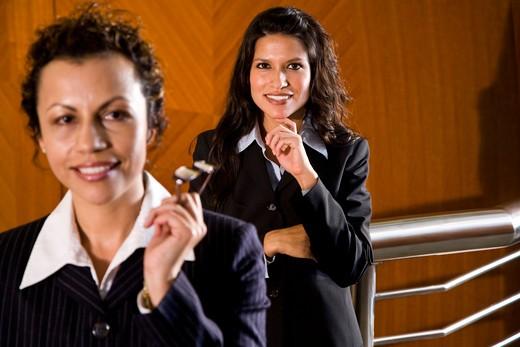 Two confident female Hispanic businesswomen : Stock Photo