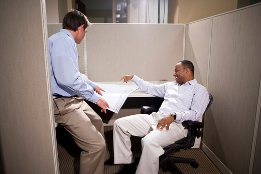 Stock Photo: 4172R-981 Two male office colleagues in cubicle discussing blueprints