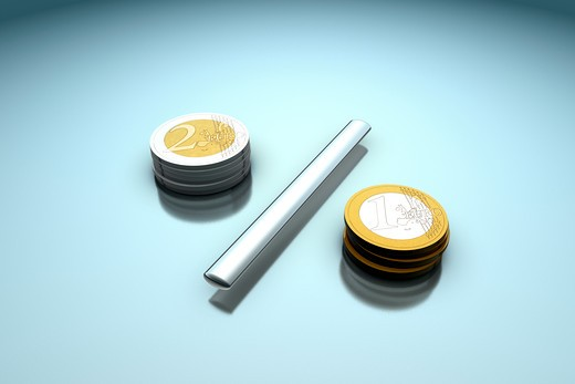 3d composing of of two Euro coin piles seperated by metal stick, showing one and two Euro coin : Stock Photo