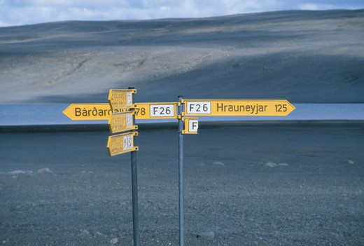Stock Photo: 4176-1114 Street name signboard on the highway, Iceland