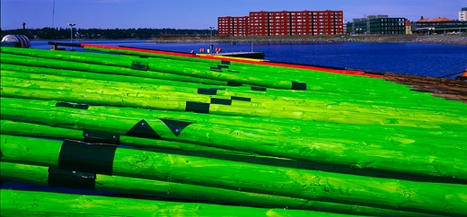 Panoramic view of green poles and buildings in Scandinavia, Sweden : Stock Photo
