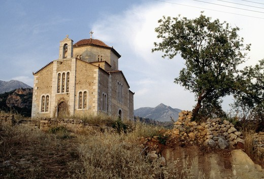Stock Photo: 4176-11894 Greek orthodox church building in Peleponessos, Greece