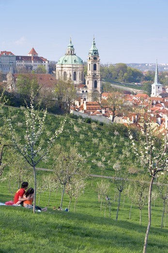 Stock Photo: 4176-12274 CZECH REPUBLIC PRAGUE ST NICOLAUS CHURCH PETRIN HILL