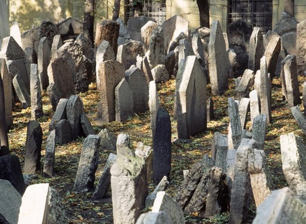 Old Jewish Cemetary in Prague Czech Republic : Stock Photo