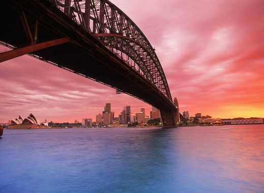 Stock Photo: 4176-13244 Harbour Bridge and Opera House at sunset from North Sydney