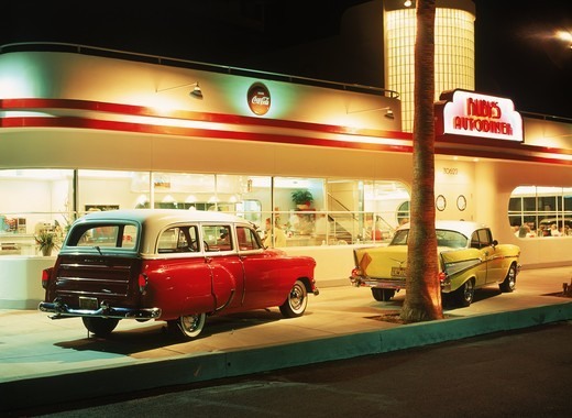 The good old days family restaurant at Ruby's Autodiner in Laguna Beach California : Stock Photo