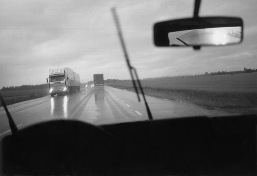 Trucks on a highway. Sweden : Stock Photo