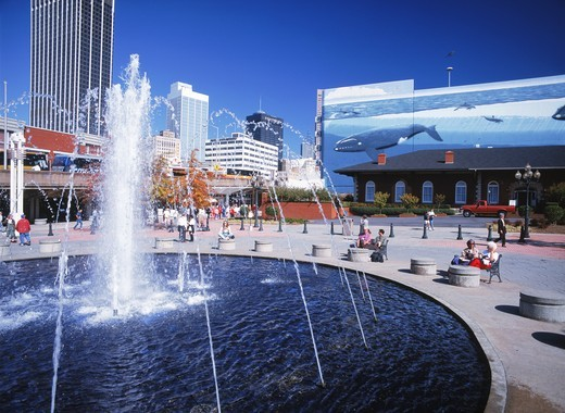 Stock Photo: 4176-13637 Shops, murals, plazas and fountains in area of Atlanta called Underground
