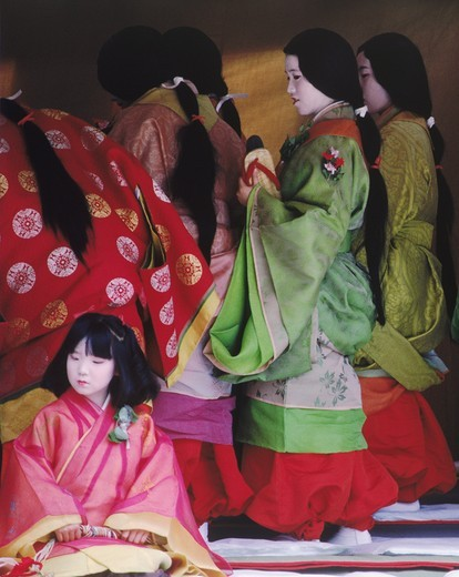 Stock Photo: 4176-13840 Traditional court ladies and child in colorful kimonos at Aoi Matsuri Festival in Kyoto. Japan