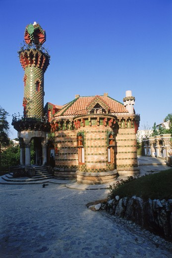 Capricho de Gaudi, 1885, by architect Antonio Gaudi, in village of Comillas, Cantabria Province, Spain : Stock Photo