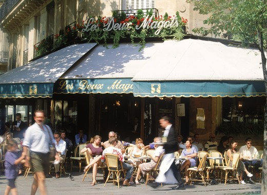 Cafe Les Deux Magots on St. Germain on the Paris Left Bank : Stock Photo