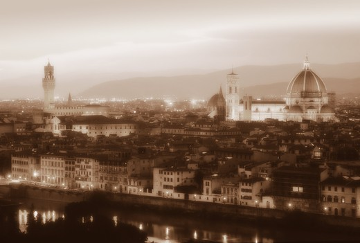ITALY TUSCANY FLORENCE CITYSCAPE AT DUSK : Stock Photo
