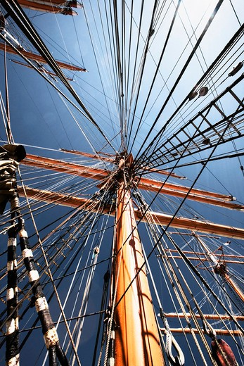 Stock Photo: 4176-15500 Strings and ropes on a big mast