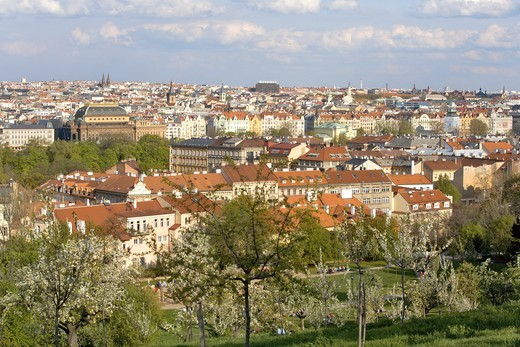 CZECH REPUBLIC PRAGUE PETRIN HILL IN SPRING NATIONAL THEATRE IN BACKGROUND : Stock Photo