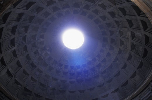 Italy Lazio Rome ceiling of the Pantheon Pantheons oculus view from below : Stock Photo