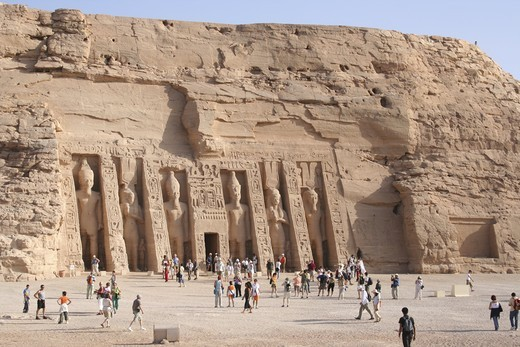 Temple of Hathor Abu Simbel Egypt Statues of Nefertari Ramses : Stock Photo