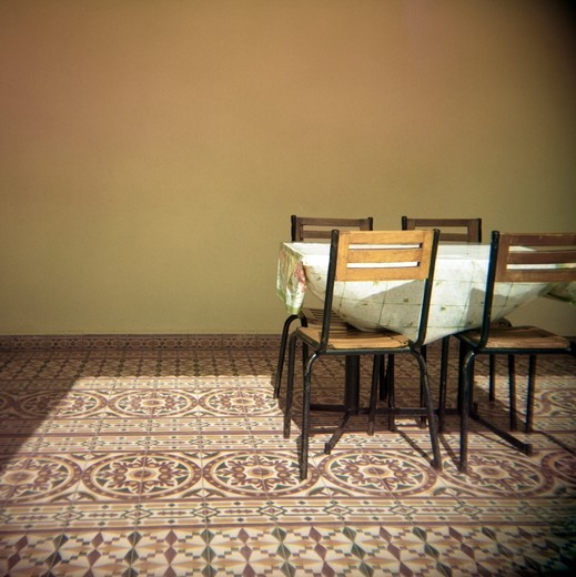 Chairs and a table in Morocco : Stock Photo