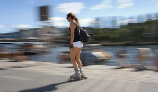 Stock Photo: 4176-16465 SWEDEN STOCKHOLM ROLLERSKATER