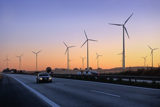 Stock Photo: 4176-17461 GERMANY BRANDENBURG WIND TURBINES
