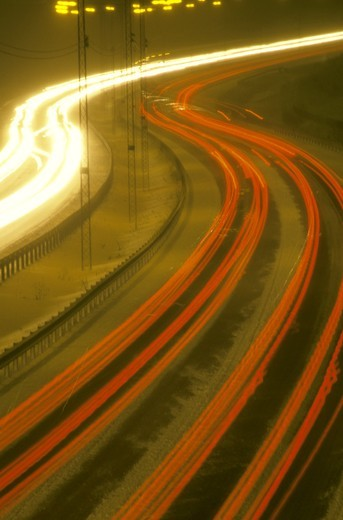 traffic on a highway in winter Stockholm Sweden Scandinavia : Stock Photo