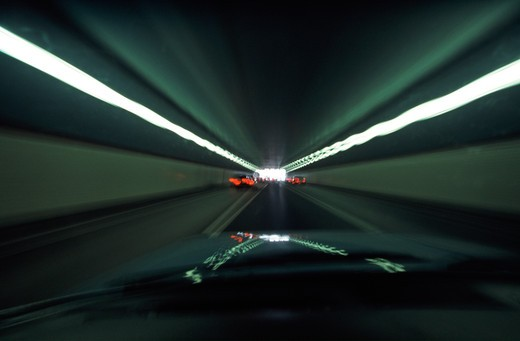 Driving in a tunnel : Stock Photo