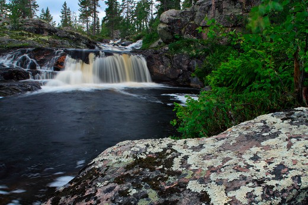 Small waterfall Lill Rondan, Sweden : Stock Photo
