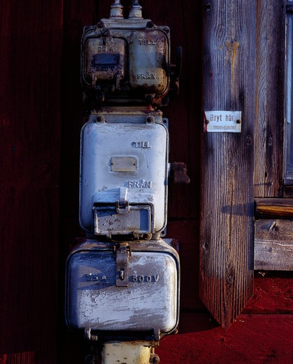 Close-up of an electric meter, Smaland, Sweden : Stock Photo