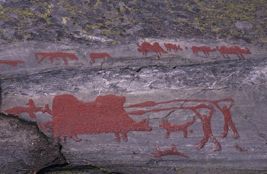 Sweden. Bronze Age rock carvings at the World Heritage site in Tanum. : Stock Photo