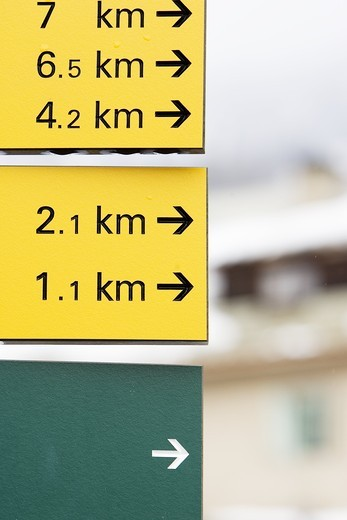 Close-up of signboards telling the distance to various places : Stock Photo