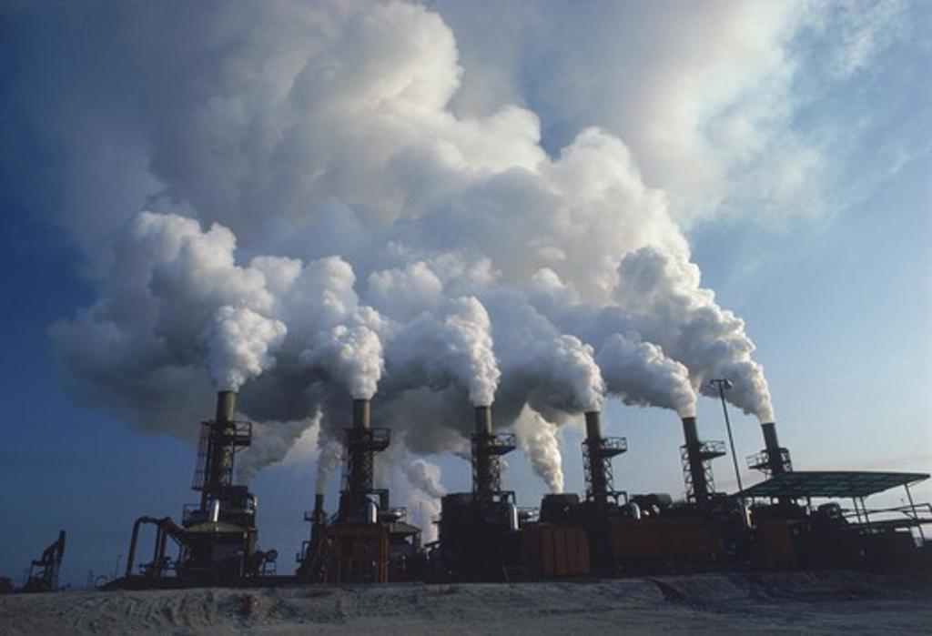 Stock Photo: 4176-20906 Oil refinery emitting air pollution near Santa Rosa, California
