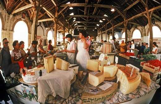 Stock Photo: 4176-21202 Open air markets with French cheese, vegetables and meats across France