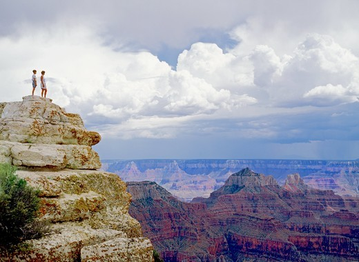 Standing at Bright Angel Point on North Rim of Grand Canyon in Arizona : Stock Photo