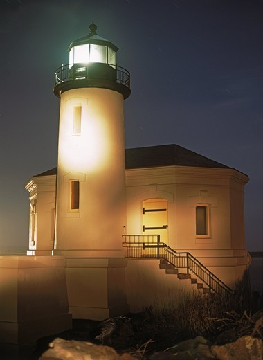 Stock Photo: 4176-21315 Coquille River Lighthouse at Bullards Beach State Park in Bandon Beach, Oregon