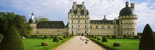 Rennaissance Chateau de Valencay with peacocks in Loire Valley of France : Stock Photo